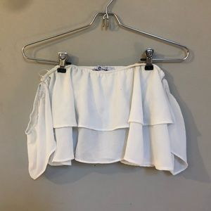 LF Evie White off the shoulder crop top
